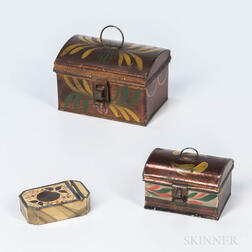 Three Small Painted Tin Boxes
