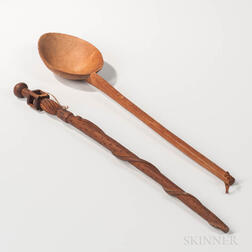 Large Carved Wood Spoon and Folk Carved Walking Stick