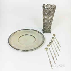Sterling Silver Charger, Large Vase with Glass Liner, and Six Iced Tea Spoons