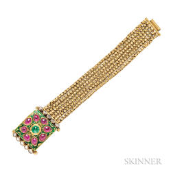 Gold and Enamel Gem-set Bracelet