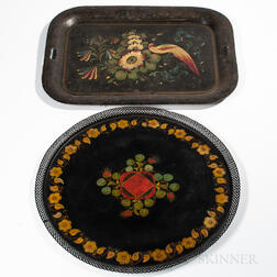 Two Painted Tin Trays