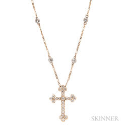 14kt Gold and Diamond Cross and Chain