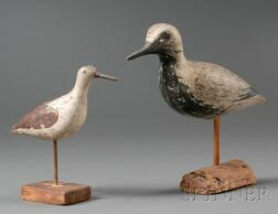 Two Carved and Painted Wooden Shorebird Figures