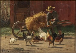 John Henry Dolph (American, 1835-1903)      Boy and Chickens
