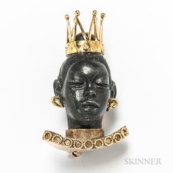 18kt Gold and Ebonized Wood Blackamoor Brooch