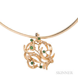 14kt Gold and Emerald Pendant