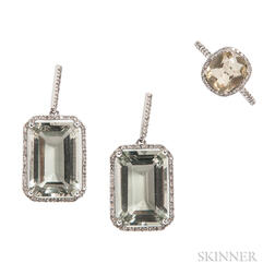 14kt White Gold and Green Amethyst Suite