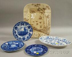 Four Transfer-decorated Pottery Items and a Blue Onion Pattern Oval Platter