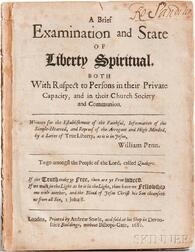 Penn, William (1644-1718) A Brief Examination and State of Liberty Spiritual.