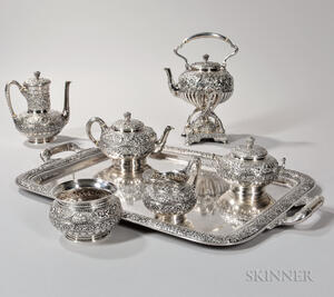 Six-piece Tiffany & Co. Sterling Silver Tea and Coffee Service with Silver-plated Tray