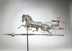 Rare Large Double Wheel Horse & Sulky Weathervane