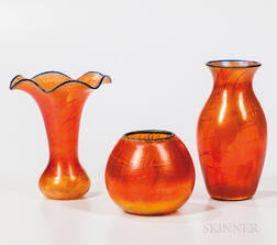 Three Imperial Art Glass White on Clear with Overshot Orange Vases