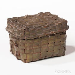 Small Green-painted Covered Splint Basket