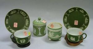 Six Wedgwood Green Jasper Dip Items
