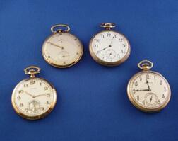 Three Gold-filled and One 14kt Gold Open Face Pocket Watches