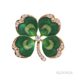 Antique 14kt Gold, Enamel, and Diamond Four-leaf Clover Pin