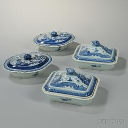 Two Pairs of Canton Export Porcelain Vegetables Dishes with Covers