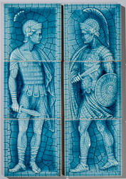 Two American Encaustic Tile Co. Three-part Roman Soldiers