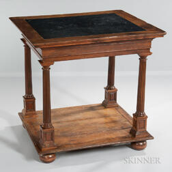 Continental Neoclassical-style Slate-top Walnut Table