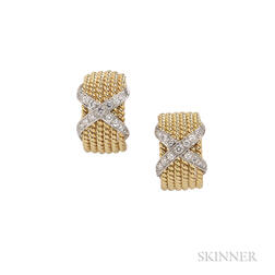 """18kt Gold and Diamond """"Rope Six-Row"""" Earrings, Schlumberger, Tiffany & Co."""
