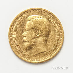 1897 Russian 7 Rouble 50 Kopeks Gold Coin