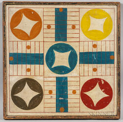 Polychrome Decorated Parcheesi Game Board