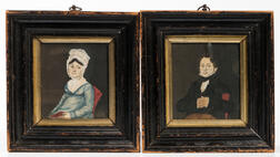 British School, 19th Century      Pair of Miniature Portraits of a Man and Woman
