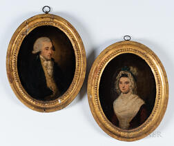 Anglo/American School, Late 18th Century      Pair of Framed Oval Portraits of a Man and Woman