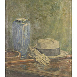 American School, 20th Century  Still Life with a Gentleman's Hat and Gloves