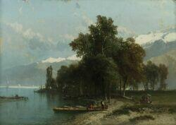 Alfred Edouard Bylandt (Dutch, 1829-1890)  Animated Shore View with Distant Peaks