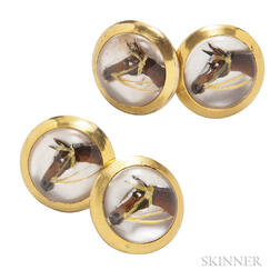 Reverse-painted Crystal Cuff Links