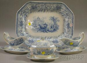Eight Light Blue Transfer-decorated Staffordshire Pottery Tableware Items