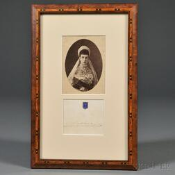 Cabinet Photograph of Empress Maria Feodorovna and Her Signature