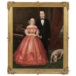 American School, 19th Century, Double Portrait of a Young Gentleman and a Lady in Pink with a Dog at His Feet Standing Next to a Piano