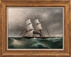 Clement Drew (act. Massachusetts, 1806-1889)      Sailing Steamship on Rocky Seas