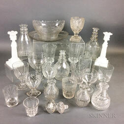 Twenty-four Pieces of Mostly Colorless Glass Tableware