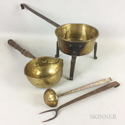 Four Brass and Wrought Iron Hearth Items.     Estimate $50-100