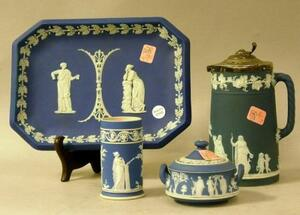 Wedgwood Dark Blue Jasper Dip Tray, Spill Vase, Covered Sugar, and Silver Plate Lidded Pitcher.