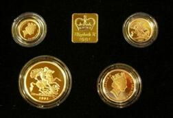 1991 United Kingdom Gold Proof Sovereign Four Coin Collection
