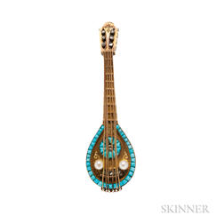 Antique 18kt Gold Mandolin Brooch