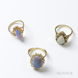 Two 14kt Gold and Opal Rings