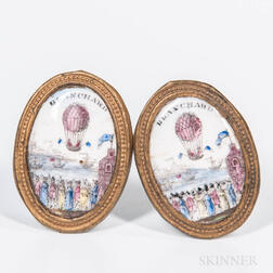 Pair of Enamel and Brass Balloon Mirror Rests