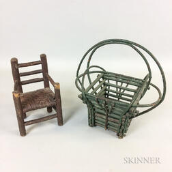 Green-painted Stick Basket and a Miniature Great Chair