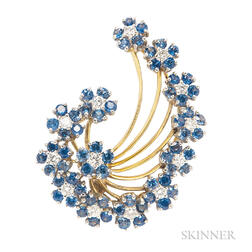 18kt Gold, Sapphire, and Diamond Brooch