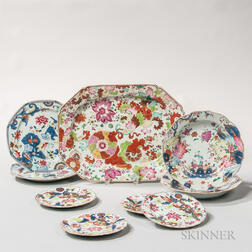 Nine Floral-decorated Export Porcelain Table Items