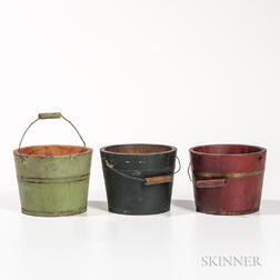 Three Small Painted Wooden Pails