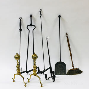 Small Group of Brass and Iron Fireplace Accessories.