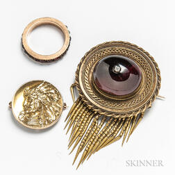 Two 14kt Gold Brooches and a Garnet Band