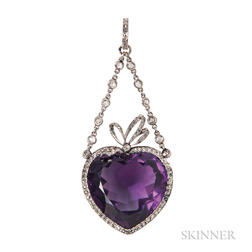 Belle Epoque Amethyst and Diamond Heart Pendant