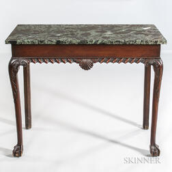 Bench-made Chippendale-style New York-type Carved Mahogany Marble-top Hall Table